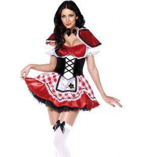 Sexy Luxe Roodkapje Vrouw Kostuum
