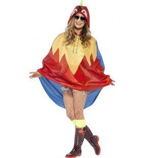Veelkleurige Papegaai-Regen-Poncho Kostuum