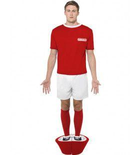 Rode Voetbalspel Pop Subbuteo Man Kostuum