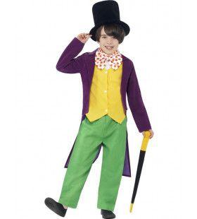 Willy Wonka Van Sjakie En De Chocolade Fabriek Kostuum Jongen