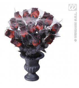 Vaas Met 15 Rode Rozen En Spinnenweb