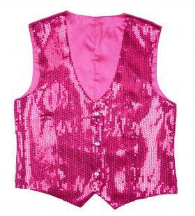 Showmaster Pailletten Vest Roze Man
