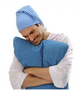 Slaapmuts Blauw / Wit