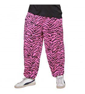 Baggy Broek 80s Zebra Roze Man
