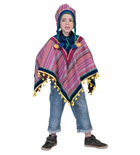 Peruaanse Panfluit Poncho Kostuum
