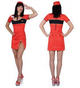 Tessa De Rode Stewardess Vrouw Kostuum