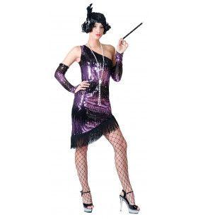 Purple Show Flapper Vrouw Kostuum