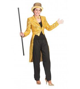 Frackjas Goud Vrouw Kostuum