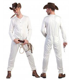 Lang Wit Cowboy Ondergoed Man Kostuum