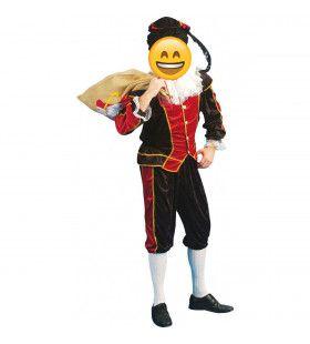 Zwart-Rode Zwarte Piet Man Kostuum