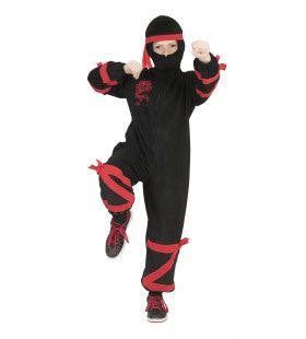 Zwart-Rode Draak Ninja Jongen Kostuum