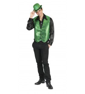 St Patrick Groen Glittervest Man