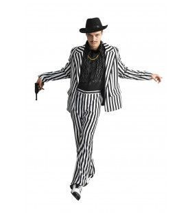Zwart-Wit Maffiapak Gestreept Man Kostuum