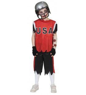 Wankele Willem American Football Zombie Jongen Kostuum
