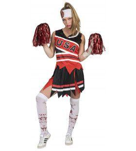 Vreselijke Tackelende Zombie American Football Vrouw Kostuum