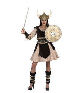 Bruine Viking Zonder Vrees Dagmar Leifdottir Vrouw Kostuum