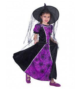Pimpel Paarse Spinnen Heks Meisje Kostuum