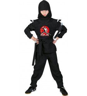 Zwart En Stil Als De Nacht Ninja Jongen Kostuum