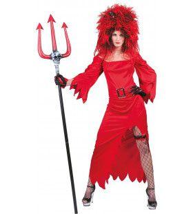 Vuurrode Sardonische Duivelin Vrouw Kostuum