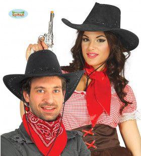 Zwarte Leren Cowboy Hoed Midden Westen