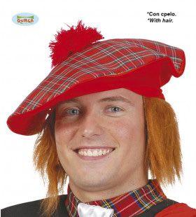 Schotse Tartan Baret Met Rood Haar