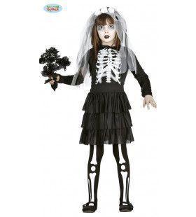 Halloween Botten Bruid Meisje Kostuum