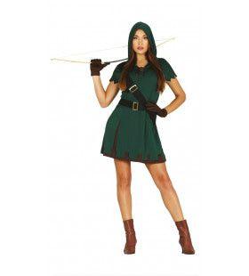 Groene Middeleeuwse Jager Vrouw Kostuum