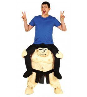 Op De Rug Van Een Japanse Sumo Worstelaar Man Kostuum
