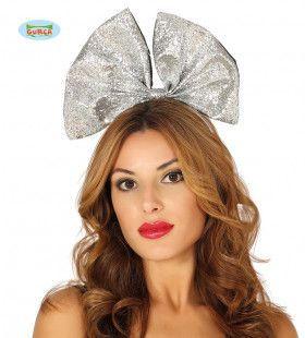 Zilveren Glitter Haarstrik Vegas