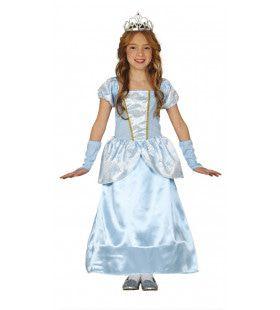 Hemelsblauwe Satijnen Prinses Meisje Kostuum