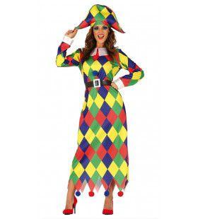 Kleurige Driehoekjes Harlekijn Vrouw Kostuum