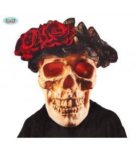 Grote Schedel Day Of The Dead Masker Met Bloemen