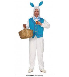 Witte Paashaas In Een Blauw Jasje Man Kostuum
