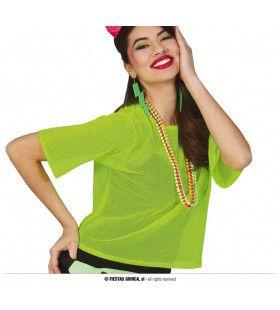 So 80s Visnet Neon Groen Shirt Vrouw