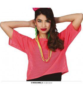 So 80 Visnet Neon Roze Shirt Vrouw