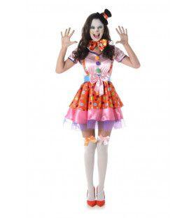 Schaterende Clown Circusact Vrouw Kostuum