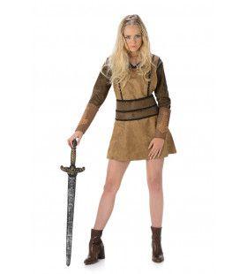 Stoere Barbaarse Strijder Vandaal Vrouw Kostuum
