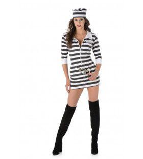 Streepje Voor Gevangenisboef Vrouw Kostuum