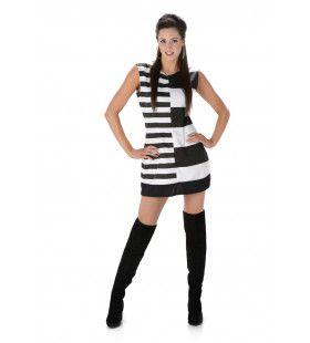 Monochrome Mod Girl Vrouw Kostuum