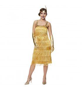 Stralend Gouden Flapper Boston Dameskostuum Metallic Vrouw Kostuum