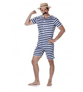Gestreept Badmeester Jaren 20 Blauw Kostuum