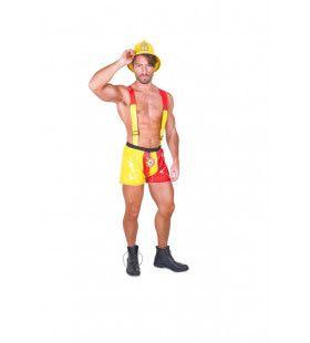 Gloeiend Heet Brandweerman Kostuum