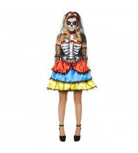 Feestelijk Geraamte Day Of The Dead Vrouw Kostuum
