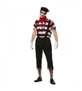 Bloederige Pantomime Speler Lijden In Stilte Man Kostuum