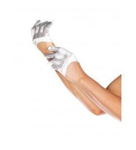 Korte Satijnen Handschoenen Wit