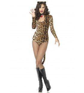 Sexy Cougar Bodysuit Set Vrouw Kostuum