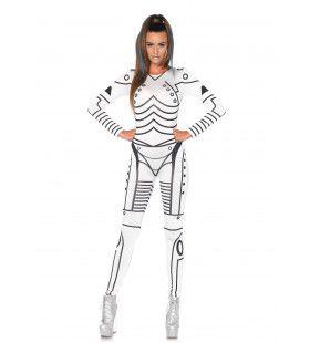 Sexy Witte Robot Catsuit Vrouw Kostuum
