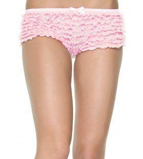 Kanten Shorts Met Ruches Licht Roze Vrouw