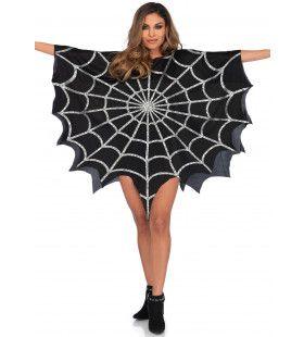 Zwarte Spinnenweb Poncho Met Glitters Vrouw