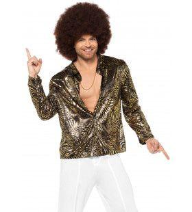 Gouden Discohemd Met Zebra Strepen Man